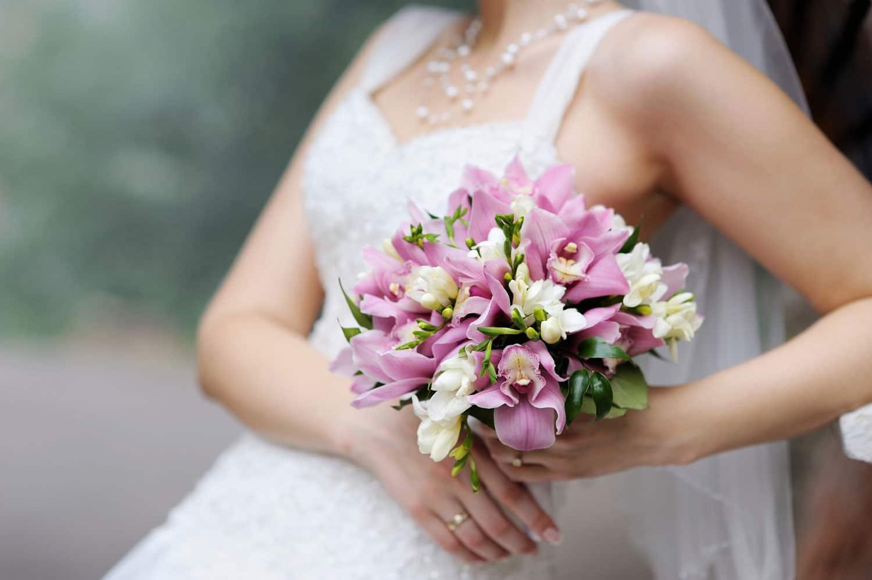 Hochzeitsfloristik - rosa Hochzeitsstrauß